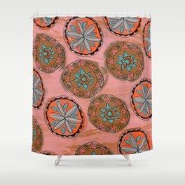 Pink Pennsylvania Dutch Hex Pattern Shower Curtain
