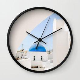 Blue Church Dome on Santorini Island Greece Oia Wall Clock