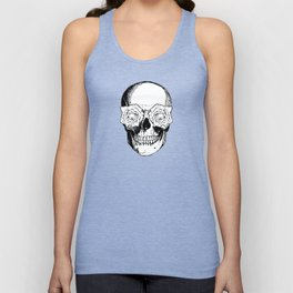 Skull and Roses | Black and White Unisex Tank Top