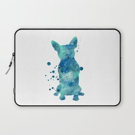 Boston Terrier Dog Watercolor Painting Blue Turquoise Aqua Mint Laptop Sleeve