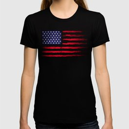 Vintage American flag on black T-shirt