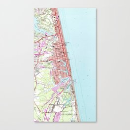Vintage Map of Virginia Beach (1965) 2 Canvas Print