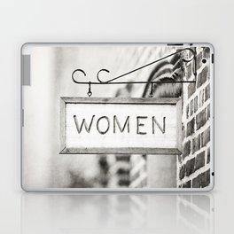 Ladies Room, Women's Restroom Sign Art, Black and White Bathroom Photo Laptop & iPad Skin