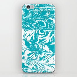 Mio - spilled ink turquoise watercolor marble marbled pattern japanese painting iPhone Skin