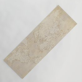 Vintage world map in sepia and gold, Kellen Yoga Mat