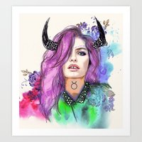taurus Art Prints featuring Taurus by Sara Eshak