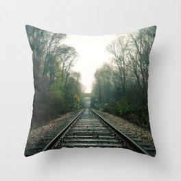 Creepy foggy railroad Throw Pillow