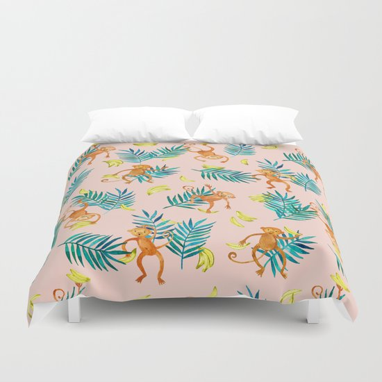 Tropical Monkey Banana Bonanza on Blush Pink Duvet Cover