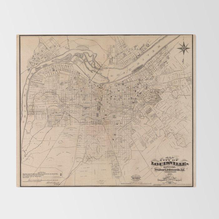 Map Of Louisville 1873 Throw Blanket
