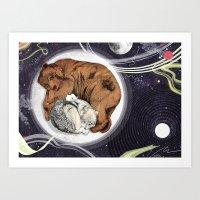 the moon Art Prints featuring Moon by Sandra Dieckmann