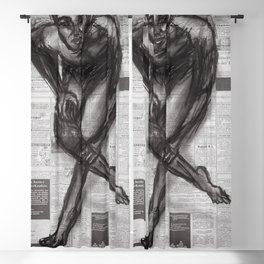 Knowledge Applied - Charcoal on Newspaper Blackout Curtain