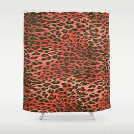 Red Tones Leopard Skin Camouflage Pattern Shower Curtain