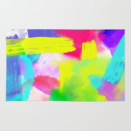 Neon Emotion | Abstract Stripes Neon Artistic Watercolor Pattern Rug