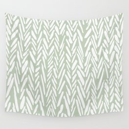 Light green herringbone pattern with cream stripes Wall Tapestry