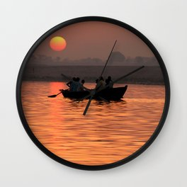 Rowing Boat on the Ganges at Sunrise Wall Clock