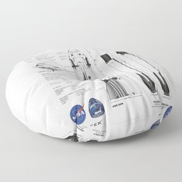NASA SpaceX Crew Dragon Spacecraft & Falcon 9 Rocket Blueprint in High Resolution (white) Floor Pillow
