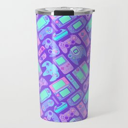 Video Game Controllers in Cool Colors Travel Mug