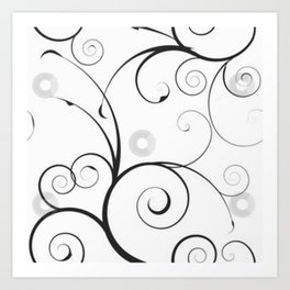 Black and Gray Swirls and Circles Art Print