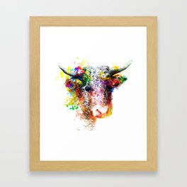 Hand drawn bull, cow, bison, buffalo head face portrait with horns. Colorful cattle painting sketch Framed Art Print
