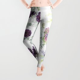 Succulents Deep Violet Lavender Pastel Green Lilac PatternSee Nature Magick for more pretty pastel c Leggings
