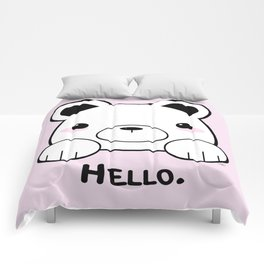 Pink Girly Girl Hello Bear Kawaii! Awww She Just Wants To say Hello! Comforters