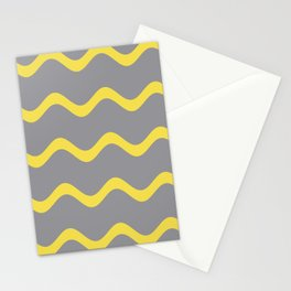 Soft Rippled Horizontal Line Pattern Pantone 2021 Color Of The Year Illuminating and Ultimate Gray  Stationery Cards