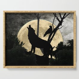 Howling Wolf Crow Moon Animal Black Bird Silhouette Art A388 Serving Tray