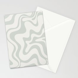 Liquid Swirl Abstract Pattern in Pale Stone and Light Silver Sage Gray Stationery Cards