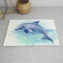 Dolphin Watercolor Sea Creature Animal Rug