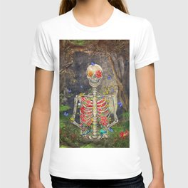 Blooming skeleton in the dark forest  with butterflies T-shirt