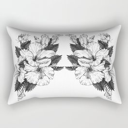 The Chinese Rose & The Tree Frog Rectangular Pillow