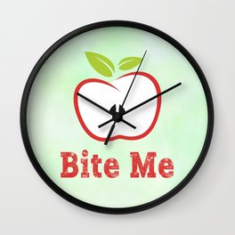 Red Apple Illustration - Bite Me Typography Wall Clock