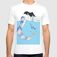 Pisces / 12 Signs of the Zodiac SMALL Mens Fitted Tee White