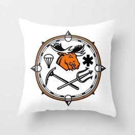 Moose Land Sea Air Emergency Rescue Mascot Throw Pillow