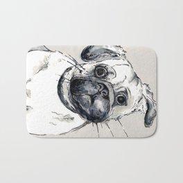 puzzled pug Bath Mat