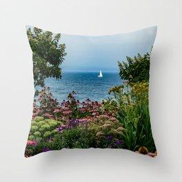 Sailing in the Garden Throw Pillow