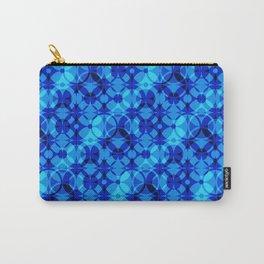 Cobalt Blue Bohemian Mid Century Modern Geometric Circle Pattern Carry-All Pouch