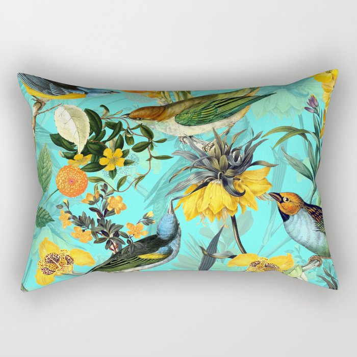 Vintage & Shabby Chic - Teal Tropical Bird Garden Rectangular Pillow