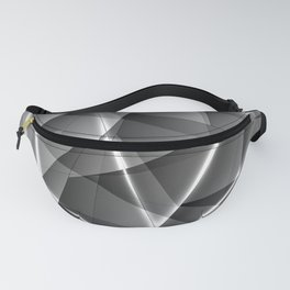Pattern of chaotic black and white glass fragments with highlights on the edges of silver plates. Fanny Pack
