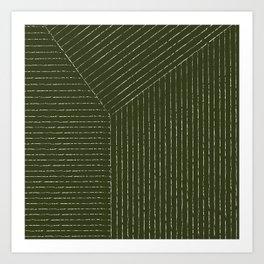 Lines (Olive Green) Art Print