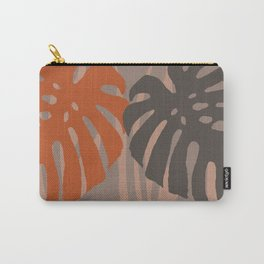 two Monstera Leaves grey background Carry-All Pouch