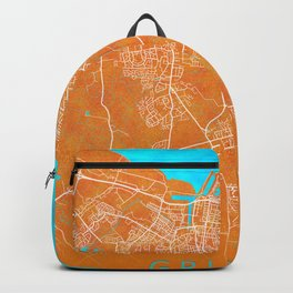 Grimsby, England, Gold, Blue, City, Map Backpack