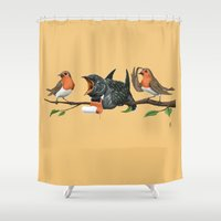 cock Shower Curtains featuring Cock Robin (Colour) by rob art | illustration
