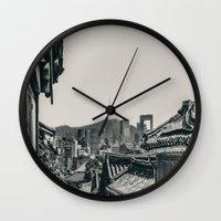 seoul Wall Clocks featuring Seoul Cityscape by Jennifer Stinson