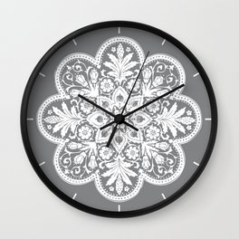 Floral Doily Pattern   Grey and White Wall Clock