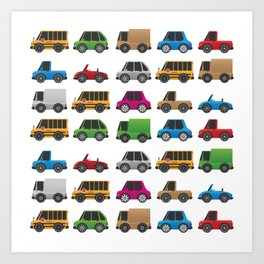 Cute Toy Cars, Trucks and School Buses Pattern Art Print