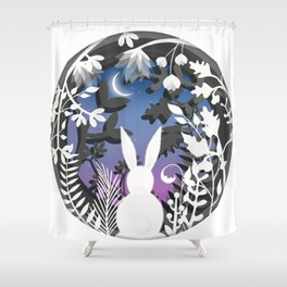 Moonlight Bunny Star Gazer Shower Curtain