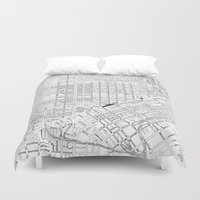 san francisco map Duvet Covers featuring San Francisco Map from 1971 by David Louis Klein