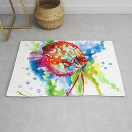 Bright Colored Aquarium Fish, Aquatic Beach Design Discus Rug