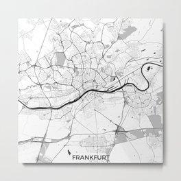 Frankfurt City Map Gray Metal Print